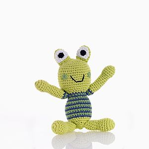 Crochet Frog Rattle Toy - rattles