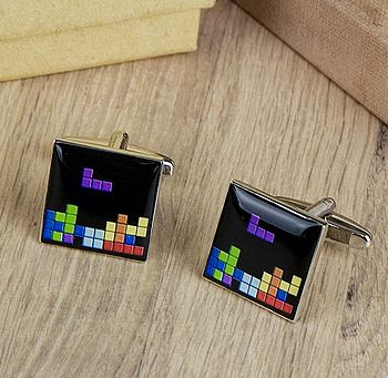 Retro Computer Game Block Cufflinks