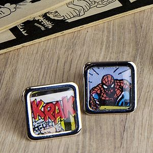 Comic Spider Super Hero Cufflinks - gifts for geeks