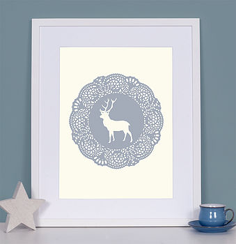 Stag/Cockerel Doily Art Print