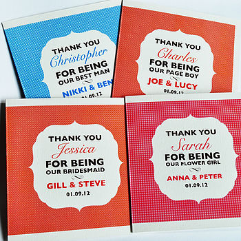 Personalised Wedding Party Thank You Card