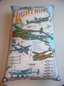 Vintage Tea Towel Cushion/ Pillow US Aircraft