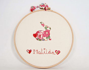 Personalised Bunny Name Embroidery Hoop Art