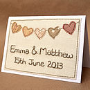 Thumb personalised embroidered heart bunting card