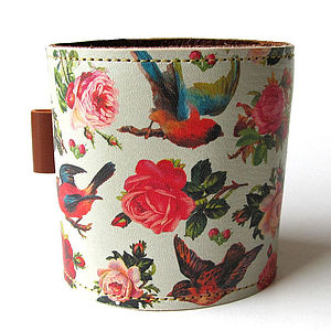 Birds And Roses Leather Cuff