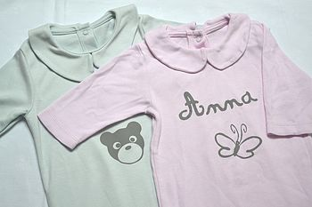 Blue Baby's personalised Pyjamas With Grey Bear And Printing And Pink Baby's personalised Pyjamas With Grey Butterfly And Printing