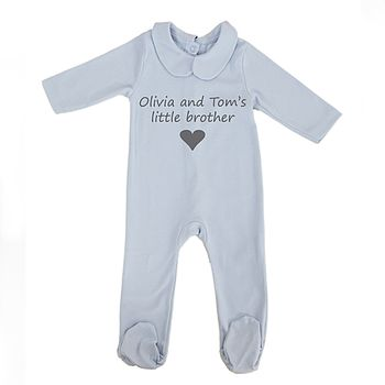 Baby's 'Little Brother's' Pyjamas With Grey Printing