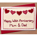 Bunting Personalised Anniversary Card