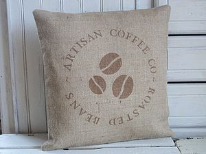 ' Coffee Bean ' Hessian Cushion