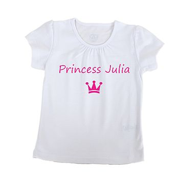 White Girl's 'Princess' T Shirt With Fushia Printing