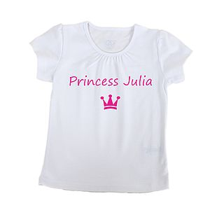 Personalised Girl's 'Princess' T Shirt