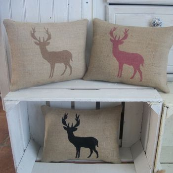' Standing Deer ' Hessian Cushion