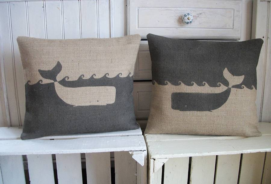 charcoal rustic whale ' cushion by rustic country crafts ...