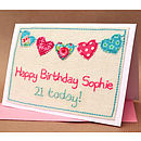 Personalised Bunting Girls Birthday Card