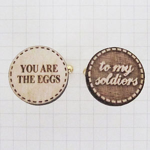'Eggs To My Soldiers' Wooden Cufflinks