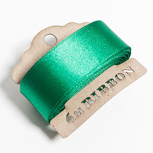Green Satin Christmas Ribbon - diy stationery