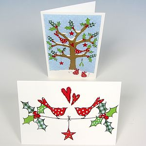 Festive Birds Christmas Cards - christmas card packs