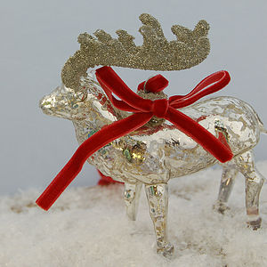 Silvered Glass Reindeer Decoration