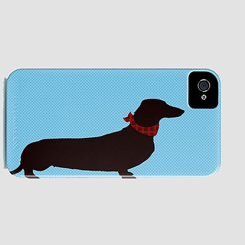 Dachshund Dog On Blue Phone Case