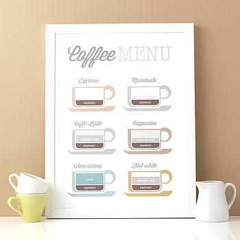 Coffee Lovers Menu Infographic Print