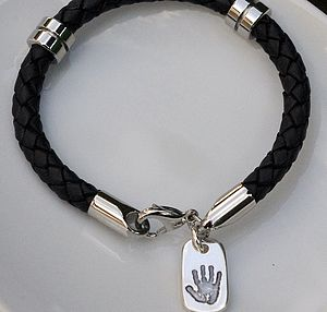 Mens Leather Bracelet With Dog Tag Charm