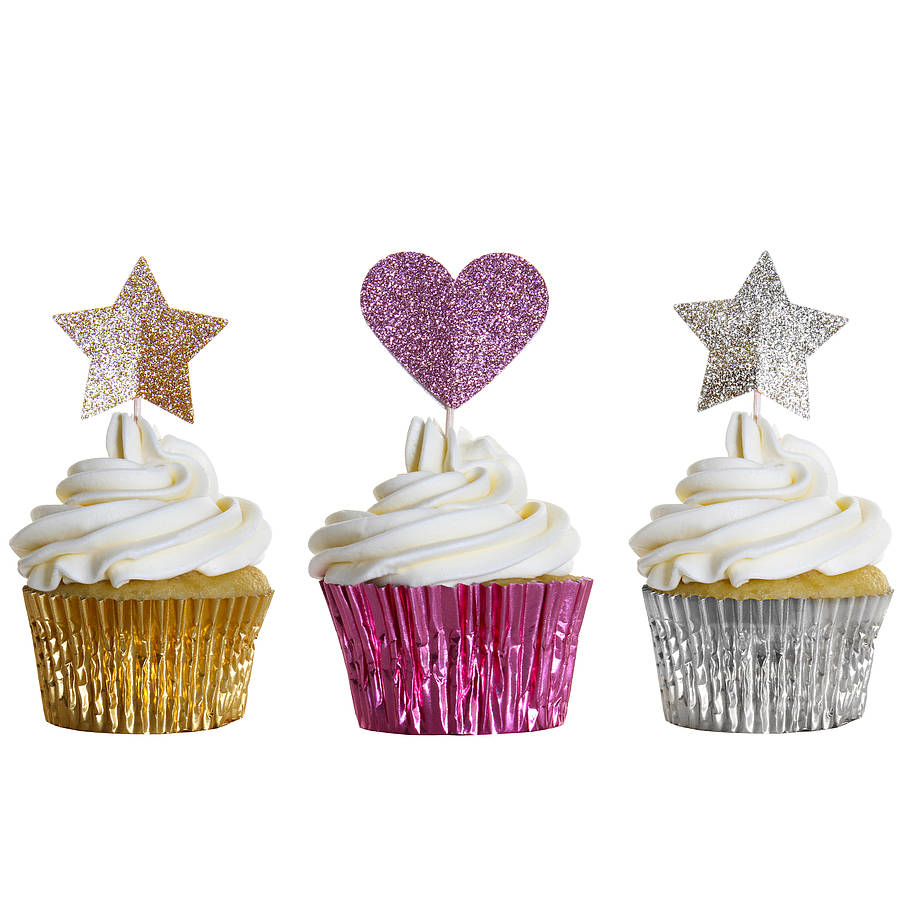 12 sparkly star cupcake toppers by wit & wisdom ...