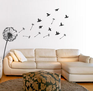 Dandelion And Birds Wall Sticker - bedroom