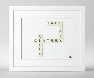 Fiftieth Birthday Scrabble Art