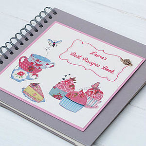 Cupcakes And Teacups Personalised Recipe Book