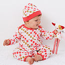 Lt sleep suit with hat on model