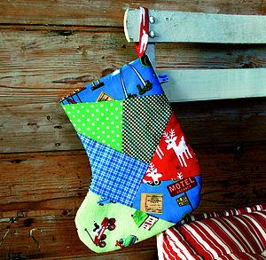 Patchwork Boys Christmas Stocking - stockings & sacks