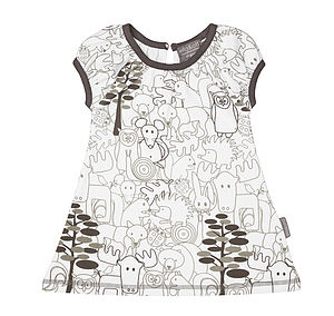 Woodland Animals Organic Dress - dresses
