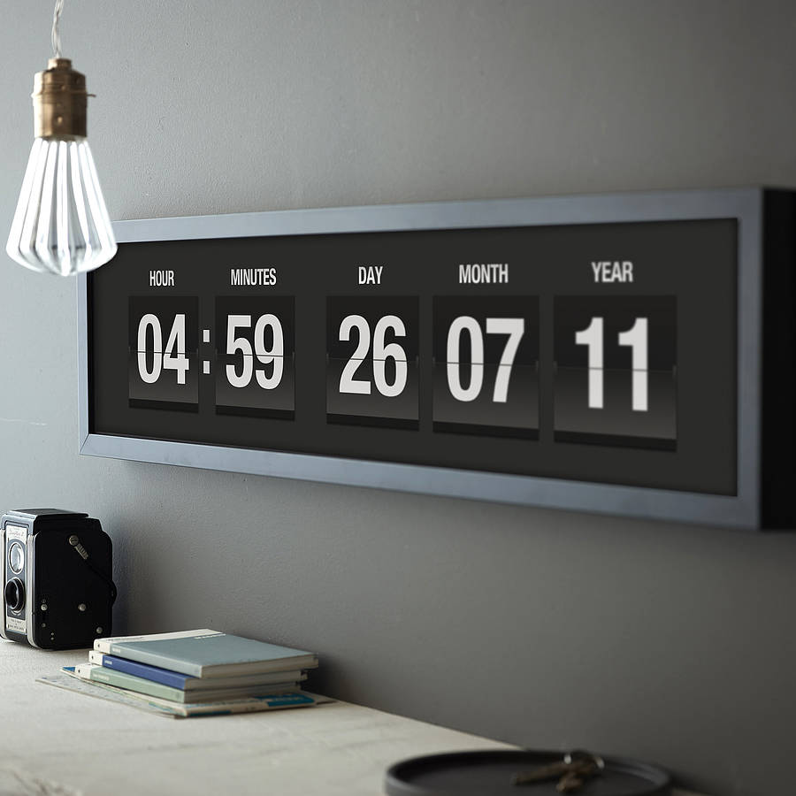 personalised vintage flip clock print by the drifting bear co. Black Bedroom Furniture Sets. Home Design Ideas