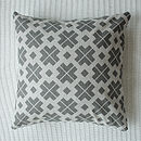 Grey Patterned Linen Cushion Cover