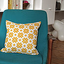Saffron Yellow Patterned Linen Cushion Cover