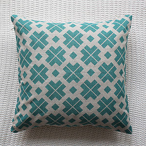 Patterned Linen Cushion Cover - vibrant blues