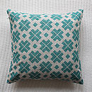 Thumb teal patterned linen cushion cover