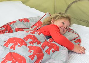 Nellie Cotton Sleeping Bag Sage And Stone - children's room accessories