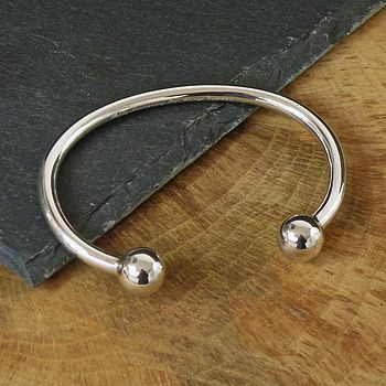 Men's Silver Ball Torque Bangle