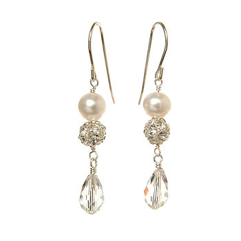 Angel Pearl And Crystal Earrings