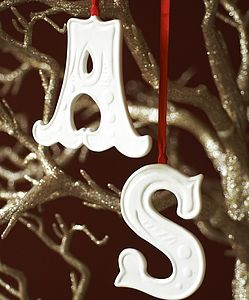 Porcelain Hanging Letter - tree decorations