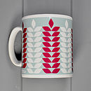 Corn Pattern Mug In Cambridge Blue & Claret