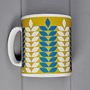 Corn Pattern Mug In Sage & Teal