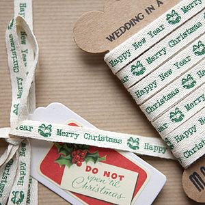 Christmas Bells Cotton Ribbon - christmas ribbon
