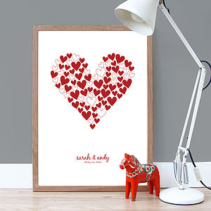Personalised 'Love Hearts' Poster