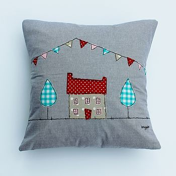 Appliqued House Cushion