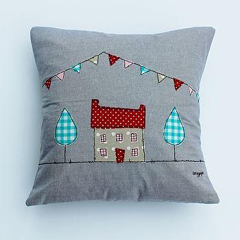 Appliqued House Cushion