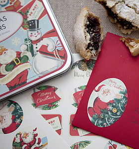 Tin Of Retro Christmas Stickers