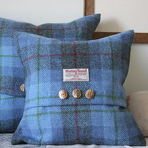 Bluebell Wood Harris Tweed Cushion - cushions