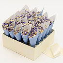confetti box with blue cones and highland fling confetti mix